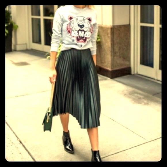 2f02c0ce7b Zara Skirts   Nwt M Dark Green Pleated Midi Skirt   Poshmark